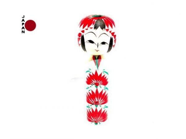 Muñeca Kokeshi Asahi Giku importada desde Japón