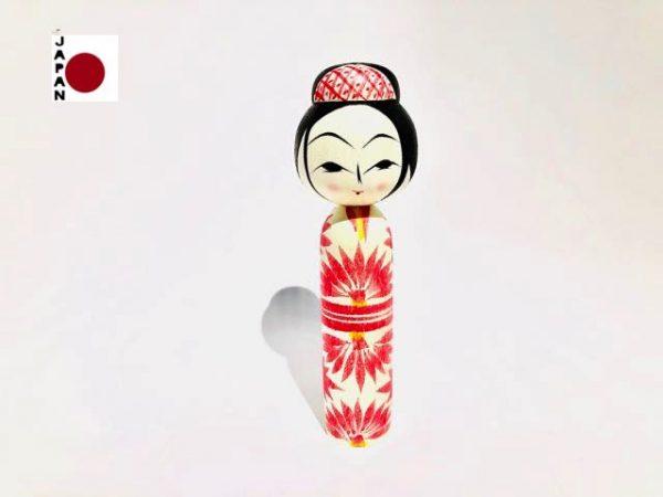 Muñeca Mage Kokeshi Asahi Giku Rosa importada desde Japón