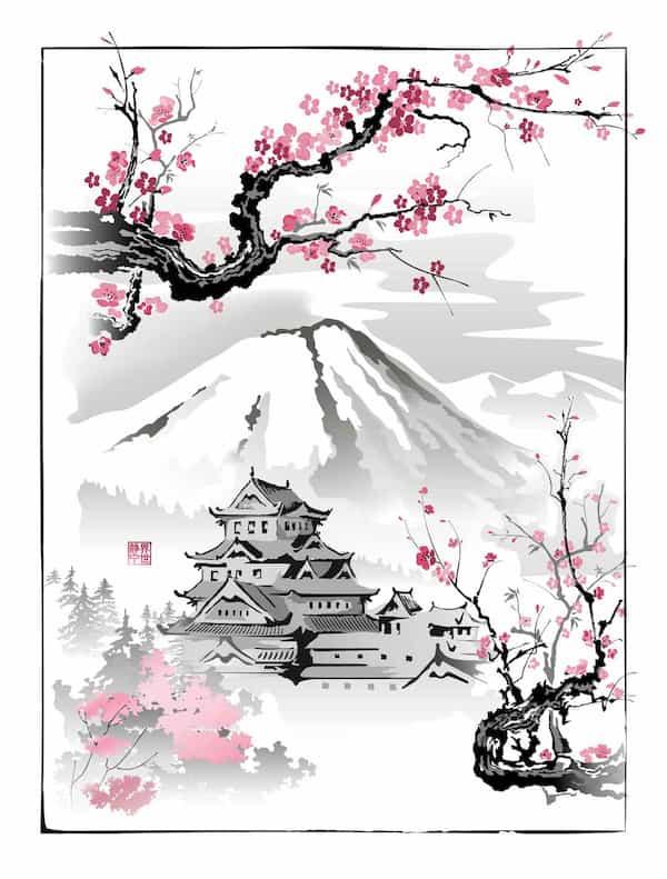 Sumi-e sakura palacio japonés